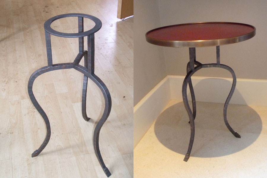 A Tripod Table in Steel and Brass