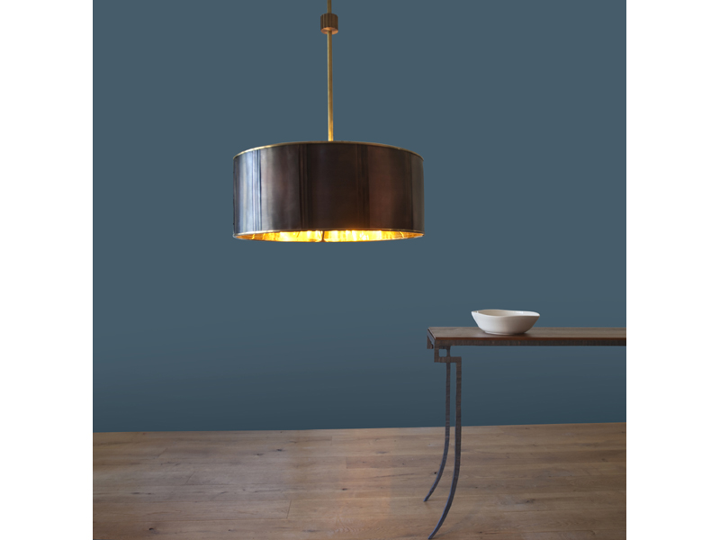 Copper Lamp and Steel Table